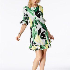 !!~Palm Fan Printed Pleated-Trim Dress~!!
